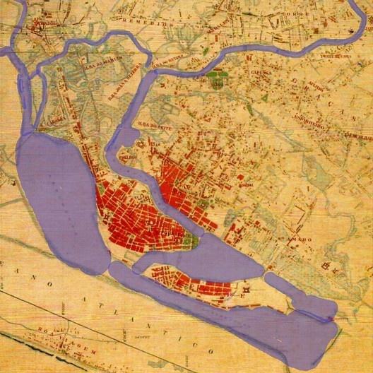 Planta da Cidade do Recife e seus arredores (detalhe) <br />Digitalização Amélia Reynaldo  [Prefeitura da Cidade do Recife, 1932]