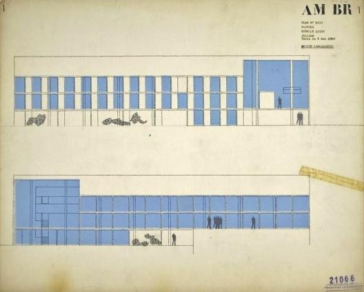 Embaixada da França, residência do embaixador, elevações, Brasília, 1962-1964, arquiteto Le Corbusier<br />Imagem divulgação  [Fondation Le Corbusier]