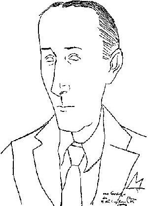 Caricatura de Joaquim Cardozo por Di Cavalcanti