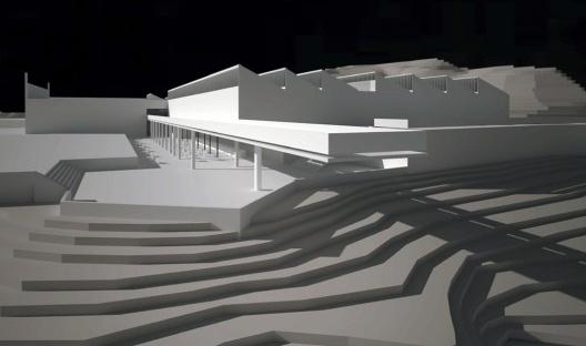 Maquete eletrônica do projeto do Museu de Arte Contemporânea de Ouro Preto, 2014<br />Imagem divulgação  [Escritório Paulo Mendes da Rocha]