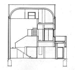 Álvaro Siza, casa Avelino Duarte, corte pelo átrio, Ovar (1981-1985)<br />Foto do autor