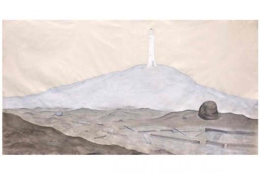 Bel Falleiros, sobre pedra e água_Oeste, 2013, tinta acrílica, grafite e giz pastel sobre algodão cru<br />Divulgação