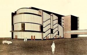 Totaltheater, Erwin Piscator e Walter Gropius. Desenho de Stefan Sebök