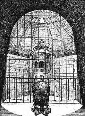Detento dentro da cela diante da torre de vigilância do Panóptico; N. Harou-Romain, Projeto de Penitenciária de 1840 [FOUCAULT, M. Vigiar e punir. Petrópolis: Editora Vozes, 2005]