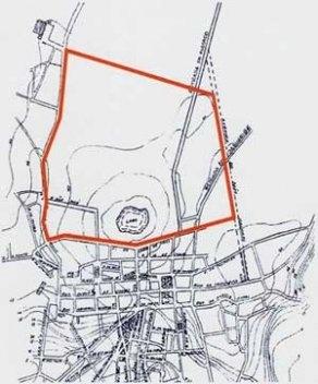 1. Área objeto do plano de expansão de Saturnino de Brito (no interior do contorno alaranjado), marcada em planta da cidade em c. 1910, de nossa autoria, traçada a partir de planta de 1913 elaborada por esse engenheiro