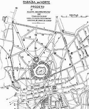 2. Plano de Saturnino de Brito para a expansão da capital paraibana, 1913. Fonte: Brito, Saneamento da Parahyba do Norte – Projecto dos esgotos, 1914