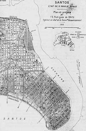 3. Plano de Saturnino de Brito para a expansão de Santos, 1910. Fonte: Brito, Le tracé sanitaire des villes, 1916