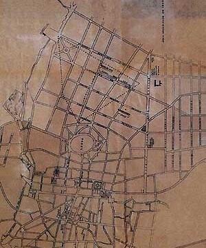 5. Traçado que foi implantado em substituição ao plano da Figura 2. As linhas pontilhadas são os eixos das vias 1, 4, 5 e 6 da Figura 2. Fonte: planta da cidade levantada pela prefeitura em 1923