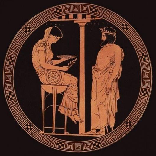 Rei Egeu diante de Pythia (ou Pitonisa), no Oráculo de Delfos, Vulcos, Itália, c.440-430 aC.<br />Imagem divulgação  [Wikimedia Commons]