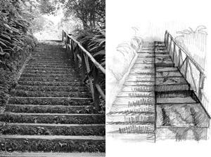 Fluxo: distribuição das placas que expõem as marcas da erosão e da decomposição do solo, ao longo da escadaria do parque