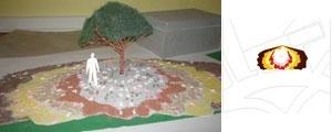 Lama. Foto do modelo tridimensional e desenho das faixas de sombra