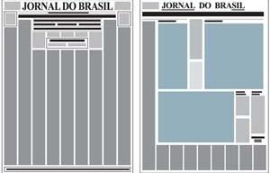 """Espelho comparativo do jornal antes e depois da reforma: assimetria no novo projeto (à direita, com destaque para o """"L"""" dos classificados)."""