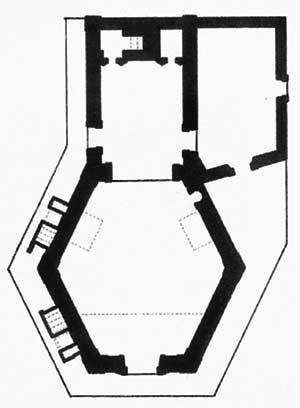 3. Planta esquemática da capela de N. S. do Patrocínio. Desenho de Carla Martins, sobre levantamento do IPHAN