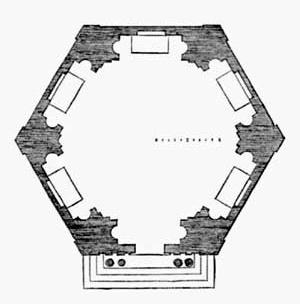 5. Planta para templo hexagonal preconizada por Serlio [5º Livro de Serlio]