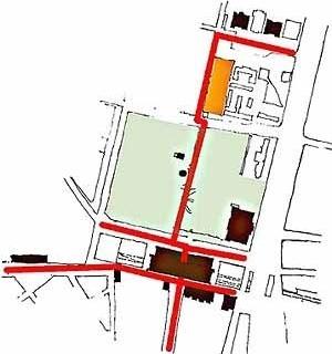 """2.2. Esquema gráfico dos """"eixos"""" estruturadores: centro-bairro (N/S) e ferroviário (L/O)"""