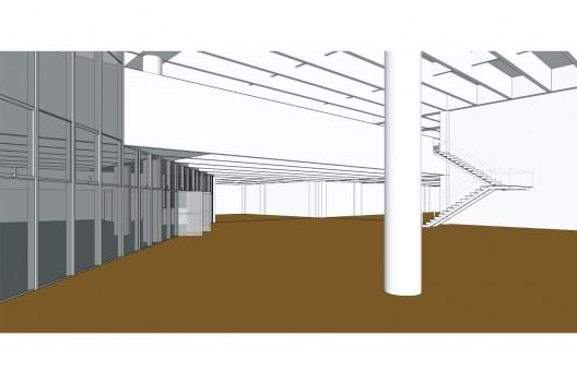 Perspectiva do interior da agência a partir do modelo tridimensional do Banespa<br />Elaboração dos autores