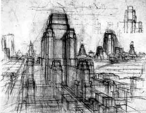 Hugh Ferriss, croquis da Cidade Imaginária apresentada em seu livro Metropolis of Tomorrow, 1929 [NEWMANN, Dietrich (editor). Film architecture: from Metropolis to Blade Runner. New York, ]