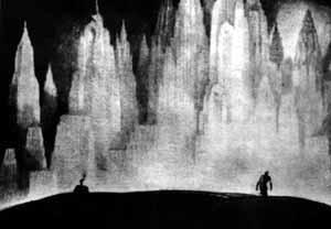 """Desenho de Hugh Ferris intitulado """"A tentação da grande cidade"""" que abre o segundo capítulo de seu livro [FERRISS, Hugh. La Métropole du futur. Paris, Centre Georges Pompidou, 1987]"""