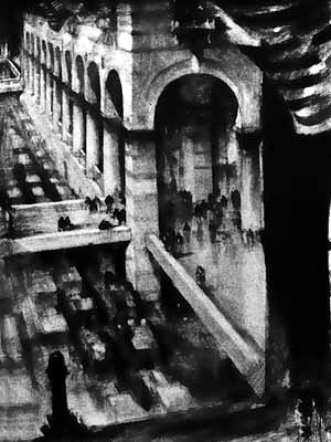 Pedestres acima da rua [FERRISS, Hugh. La Métropole du futur. Paris, Centre Georges Pompidou, 1987]