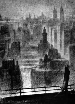 """Desenho de Hugh Ferriss intitulado """"A primeira impressão"""" que abre o primeiro capítulo de seu livro - A cidade hoje [FERRISS, Hugh. La Métropole du futur. Paris, Centre Georges Pompidou, 1987]"""