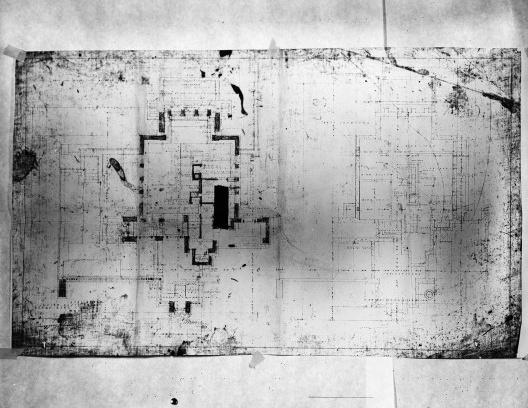 Emil Bach House, pavimento térreo, oeste e oeste, North Sheridan Road, Chicago, Estados Unidos, 1915. Arquiteto Frank Lloyd Wright<br />Desenho original  [Library of Congress / U.S. Government]
