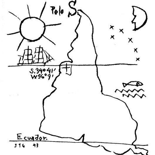 América invertida, drawing by Joaquín Torres García, 1943 [Museo Torres García]