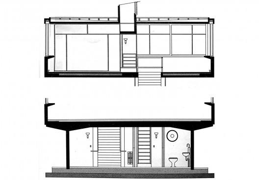 Casa ponte (Casa sobre o arroio), cortes dos pisos superior e térreo, Mar del Plata, 1947. Arquiteto Amancio Williams<br />Imagem divulgação  [revista Óculum 7/8]