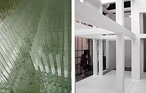 À esquerda, Pavilhão do Japão. À direita, Eisenman Architects, instalação para a IX Bienal de Veneza