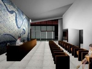 Itaporanga d´Ajuda. Saguão de atendimento (com painel ilustrativo, Cândido Portinari para o edifício do MES – RJ)