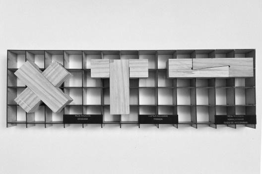 Materioteca, mock-up escala 1:1<br />Foto Lucas Di Gioia e Victor Cattete  [Acervo Fabricação, tectônica e projeto: catálogo de encaixes em madeira]
