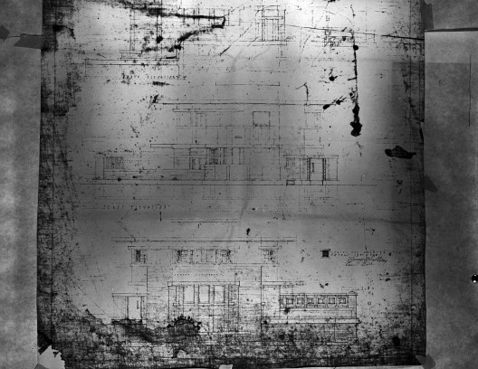 Emil Bach House, elevações sul, oeste e oeste, North Sheridan Road, Chicago, Estados Unidos, 1915. Arquiteto Frank Lloyd Wright<br />Desenho original  [Library of Congress / U.S. Government]