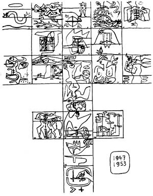 Figura 2: Esboço das litografias do 'Poema do Ângulo Reto', executadas entre 1947 e 1953 [RAEBURN, Michael & WILSON, Victoria (ed.). Le Corbusier, Architect of the centur]