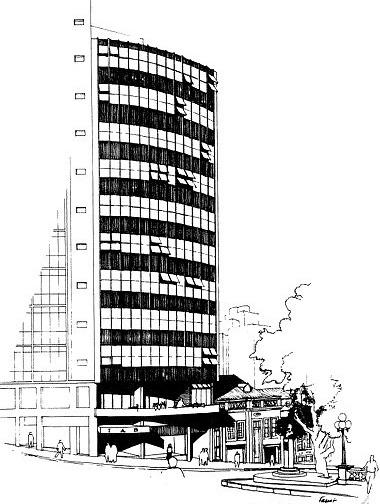 Perspectiva Edifício Instituto de Arquitetos do Brasil - RS, Porto Alegre, Carlos M. Fayet, 1960 [Acervo Fayet]