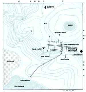 3. Provável plano do arruamento inicial da cidade da Parahyba (interpretação nossa desenhada sobre a planta da Fig. 2). As vias indicadas em traço cheio são as que devem ter sido inicialmente implantadas