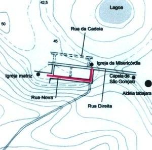 8. Provável traçado inicial da cidade da Parahyba. As igrejas matriz e da Misericórdia erguem-se nas extremidades de um dos principais eixos viários da urbe (indicado em vermelho) [Fig. 3]