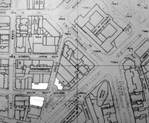 Gegran (1974); de baixo para cima, no sentido horário; os edifícios: Renata Sampaio Ferreira (1956), ABC (1949) e Jaçatuba (1942)