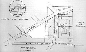 Montagem final do traçado viário: definição da quadra onde se encontra o edifício Jaçatuba; fio condutor destes estudos