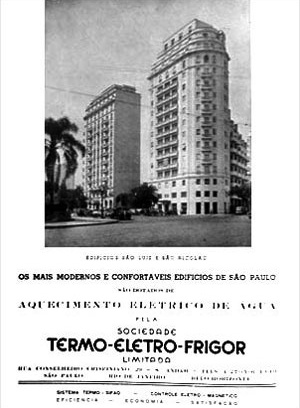 Em primeiro plano, o edifício São Nicolau; à esquerda, o edifício São Luiz; à direita, o edifício Caetano de Campos
