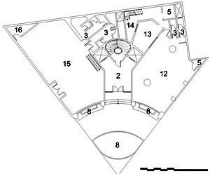 Edifício Jaçatuba, planta nível térreo: 2. hall; 3. W.C.; 5. depósito / despensa; 8. jardim; 11. área coberta; 12. bar; 13. cozinha; 14. área para botijões de gás; 15. boite; 16. sala de som