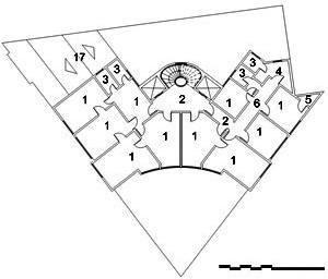 Edifício Jaçatuba, planta nível 7º ao 10º: 1. escritório / salas; 2. hall; 3. W.C.; 4. copa; 5. depósito / despensa; 6. circulação; 17. cobertura