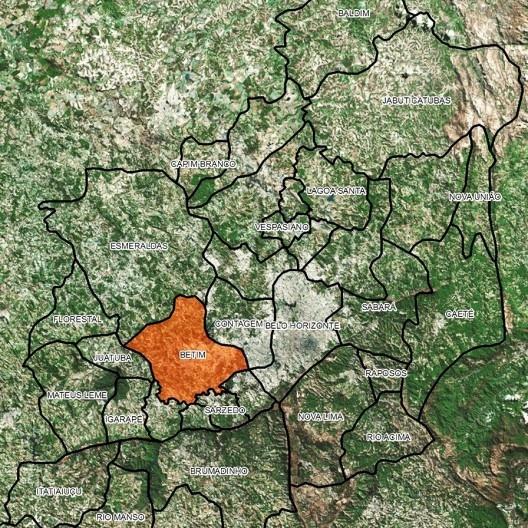 Vista de satélite da RMBH com Betim em destaque, detalhe<br />Imagem tratada pelo geógrafo Fabiano Milagres  [Google Earth, 2016]