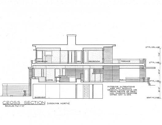 Emil Bach House, corte, North Sheridan Road, Chicago, Estados Unidos, 1915. Arquiteto Frank Lloyd Wright<br />Redesenho J. William Rudd, 1965  [Library of Congress / U.S. Government]