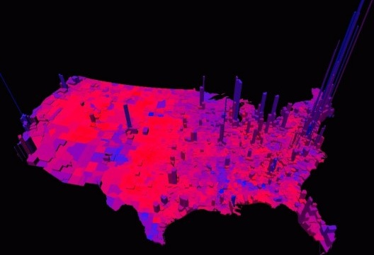 Maiores densidades urbanas estão diretamente ligadas a maior diversidade cultural e liberalismo ideológico: em azul, metrópoles que votaram nos democratas; em vermelho, cidades republicanas [Princeton University]