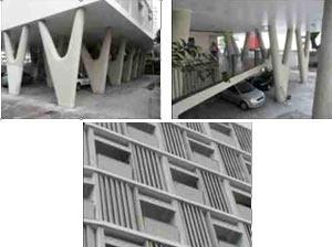 Figura 3: Pilotis, mezanino e fachada do edifício Urpia<br />Foto do autor