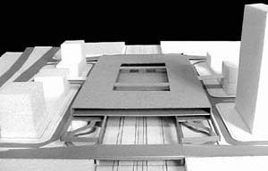 Operação Urbana Diagonal Sul. Plano-Referência de Intervenção e Ordenação Urbanística. Pólo estação/transposição: vistas da maquete [SEMPLA/PMSP]