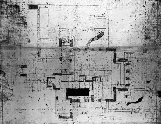 Emil Bach House, planta primeiro pavimento, oeste e oeste, North Sheridan Road, Chicago, Estados Unidos, 1915. Arquiteto Frank Lloyd Wright<br />Desenho original  [Library of Congress / U.S. Government]