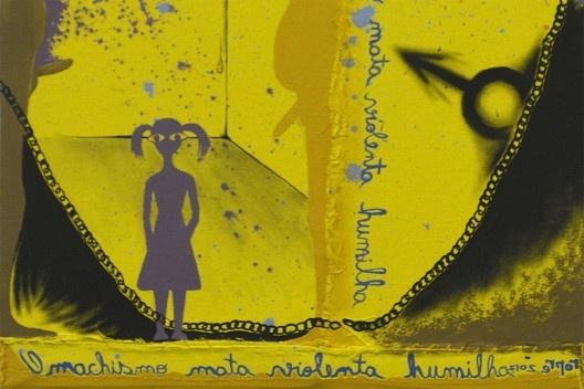 """A imagem invertida de <i>Pedofilia</i>, de Alessandra Cunha, revela a frase """"O machismo mata violenta humilha""""<br />Imagem divulgação"""