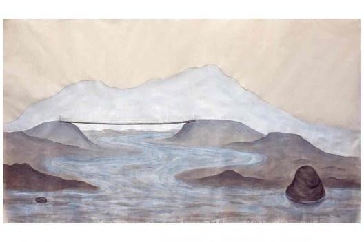 Bel Falleiros, sobre pedra e água_Norte, 2013, tinta acrílica, grafite e giz pastel sobre algodão cru<br />Divulgação