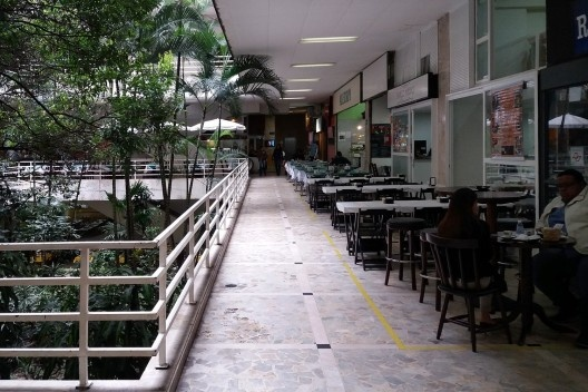 Galeria Metrópole, relação dos jardins com as áreas de convívio, São Paulo, 1960. Arquitetos Salvador Candia e Giancarlo Gasperini<br />Foto Emílio Bertholdo