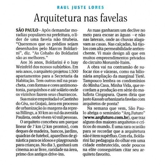 Artigo de Raul Juste Lores sobre projeto de reurbanização de favela, publicado no caderno Cotidiano do jornal Folha de S.Paulo<br />Imagem divulgação